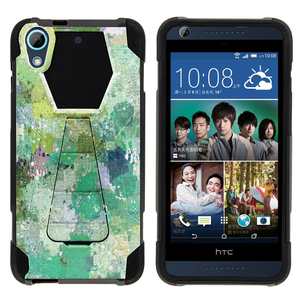 HTC Desire 626 Shock Fusion Heavy Duty Dual Layer Kickstand Case -  Enveloping Green
