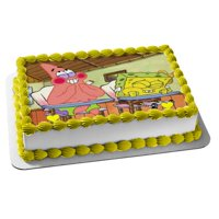 Spongebob Birthday Edible Cake Topper Image 1/4 sheet ABPID22154