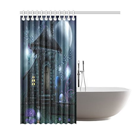 GCKG Fairy Tale Castle House Shower Curtain, Starry Night Full Moon Polyester Fabric Shower Curtain Bathroom Sets with Hooks 66x72 Inches - image 1 de 3