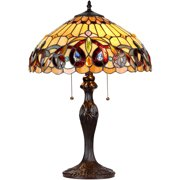 "Chloe Lighting Serenity Tiffany-Style 2-Light Victorian Table Lamp with 16"" Shade"