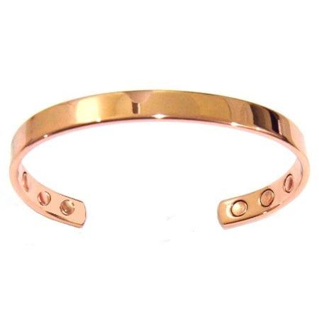 Bronze Bangle Bracelet (1/4 Inch Plain Solid Copper Bangle Bracelet With 6 Sealed Magnets for Men &)
