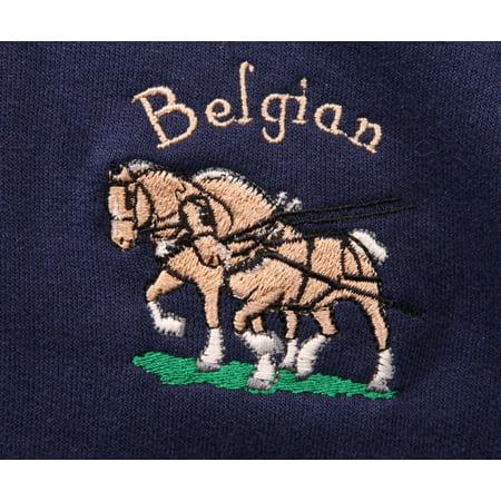 Mountain Horse Diamond Fleece - Big Black Horse Embroidered Belgian Horse Team Fleece Throw - Green