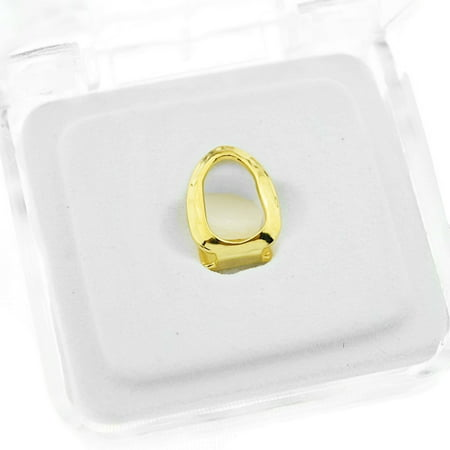 14k Gold Plated Open Face Grillz Single Cap Top Upper Hollow K9 Canine Tooth Hip Hop Grills ()