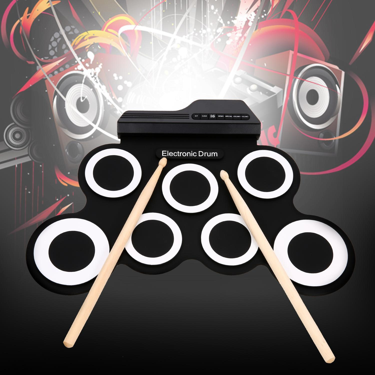 Electronic Drum Set USB MIDI Roll-Up W  Built-in Speakers, Foot Pedals, Drumsticks, Power... by