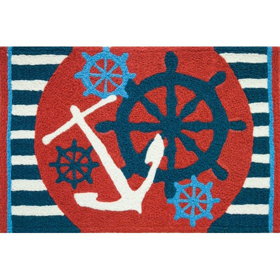 Jelly Bean Throw Rugs: Anchors Away Ships Wheel Nautical Sailing Area Accent 21 X