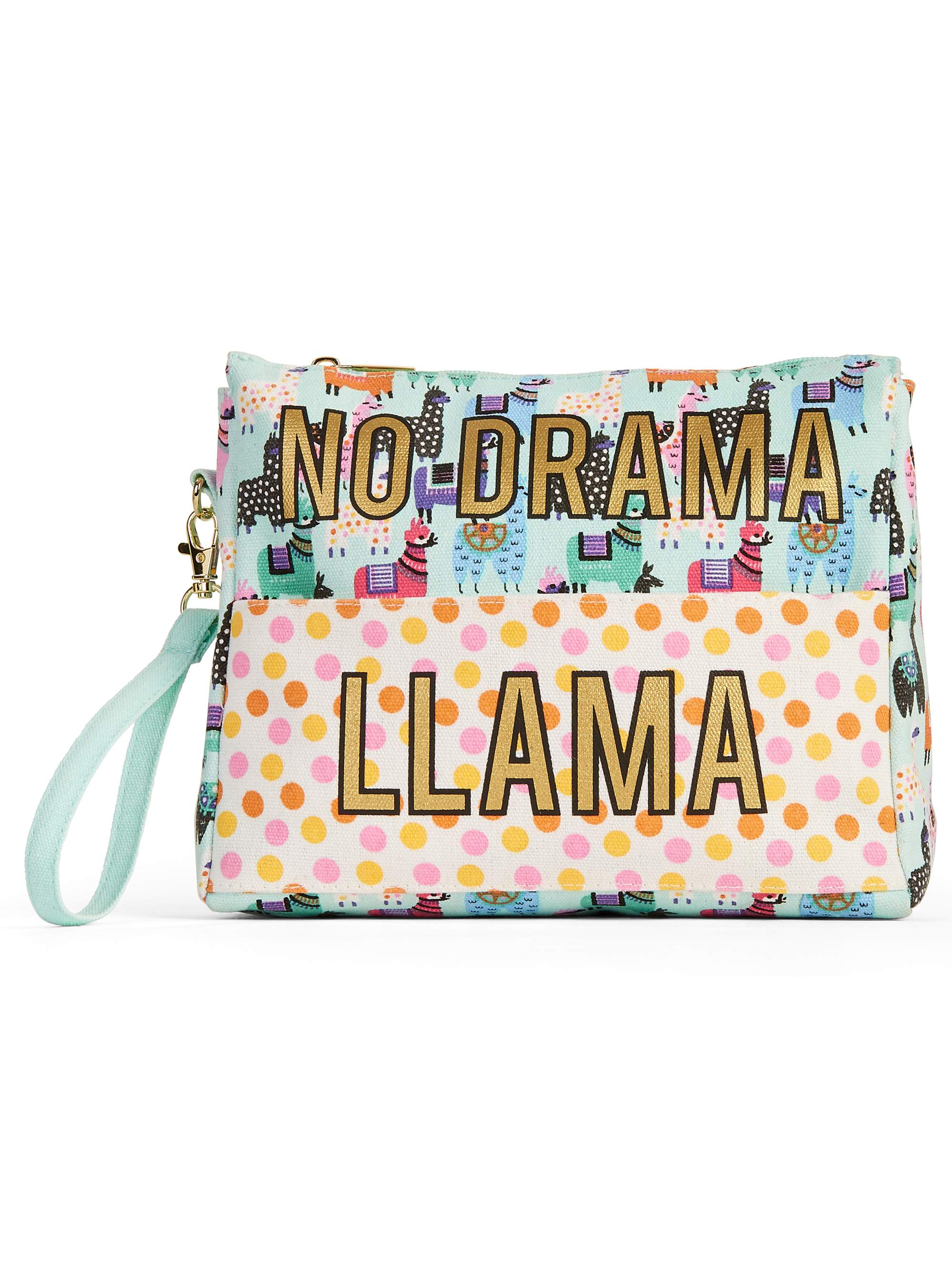 "No Boundaries ""No Drama Llama"" Wristlet Front Pocket Pouch"