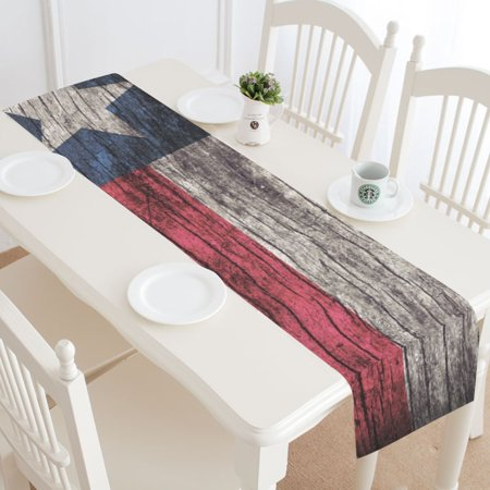 4th Of July Table Runner (MYPOP Independence Day 4th of July Table Runner Home Decor 14x72 Inch, American Flag Wooden Table Cloth Runner for Wedding Party Banquet)