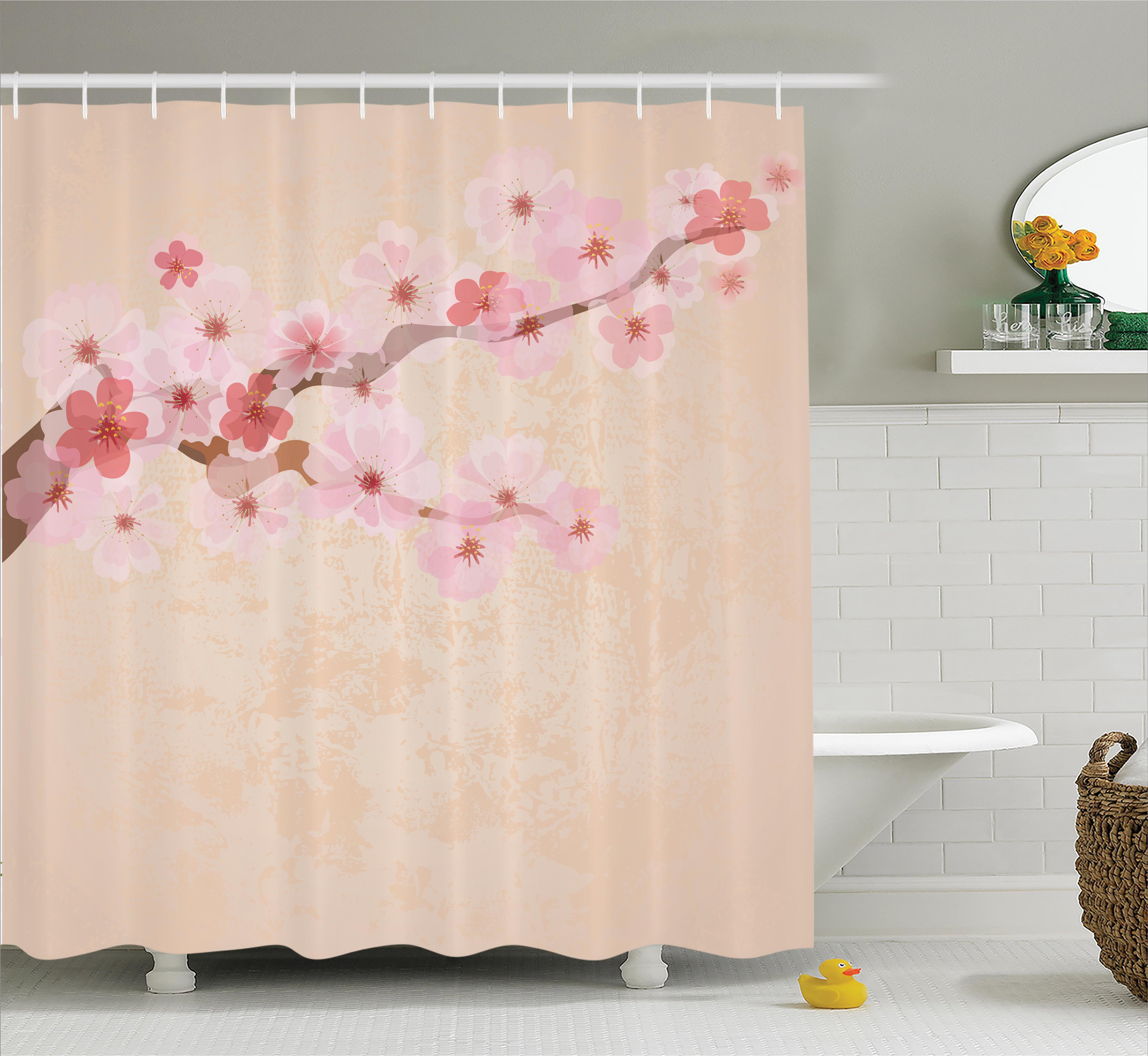 Japanese Decor Shower Curtain, Cherry Blossoms on Branch ...