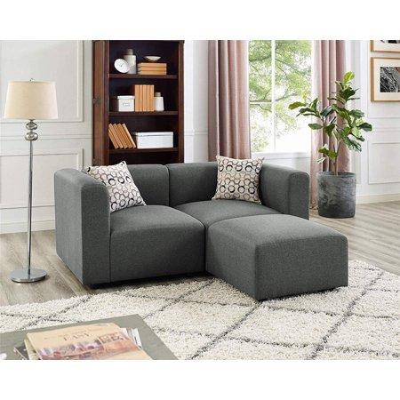 Steel Grey Loveseat Sofas with Ottoman