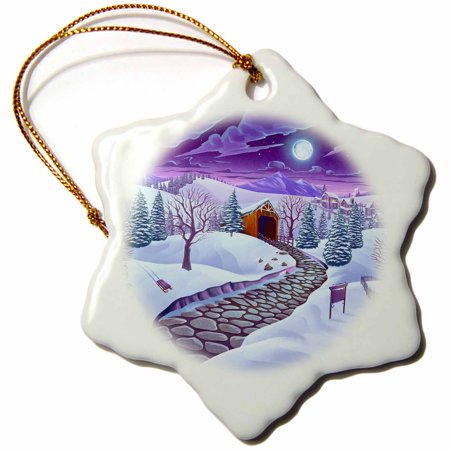 3dRose Beautiful winter scene of a covered bridge covered in snow - Snowflake Ornament, 3-inch