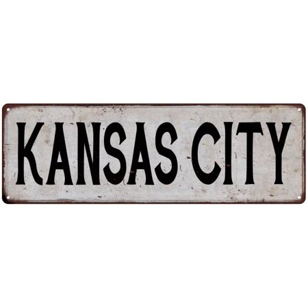 KANSAS CITY Vintage Look Rustic Metal City State Sign 6 x 18 High Gloss Metal 206180041322
