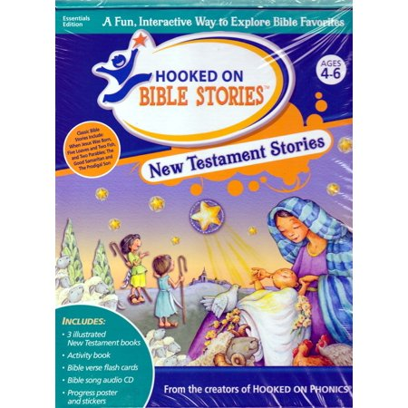Hooked on Phonics Bible Stories NEW TESTAMENT Stories, Activity Book, Flash Cards,Audio CD (New Testament On Cd)
