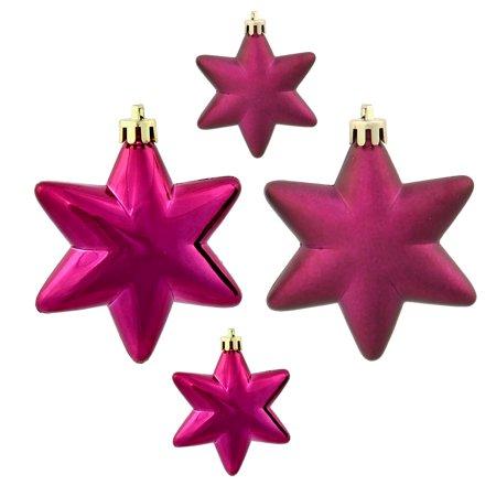 - 36ct Matte & Shiny Eggplant Purple Star Shatterproof Christmas Ornaments 1.5