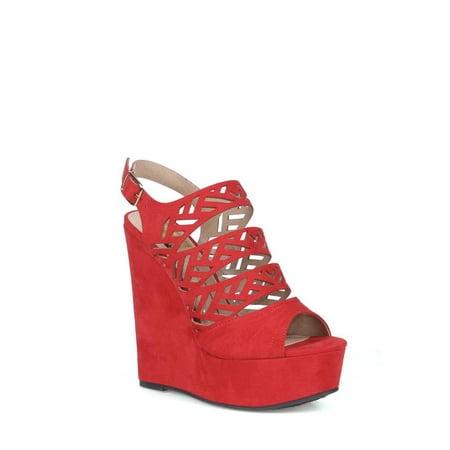 6971445c66b Fahrenheit - Fahrenheit Women s Platform Wedge Sandals in Red ...