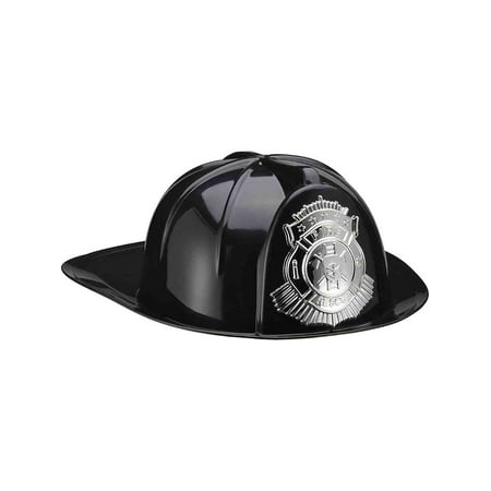 Firefighter Adult Costume (Deluxe Black Adult Fire Fighter Costume Hard Hat Helmet With Silver)