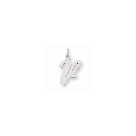 Sterling Silver Large Script Initial V Charm