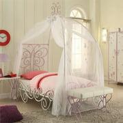 Priya II Twin Canopy Bed, White and Light Purple