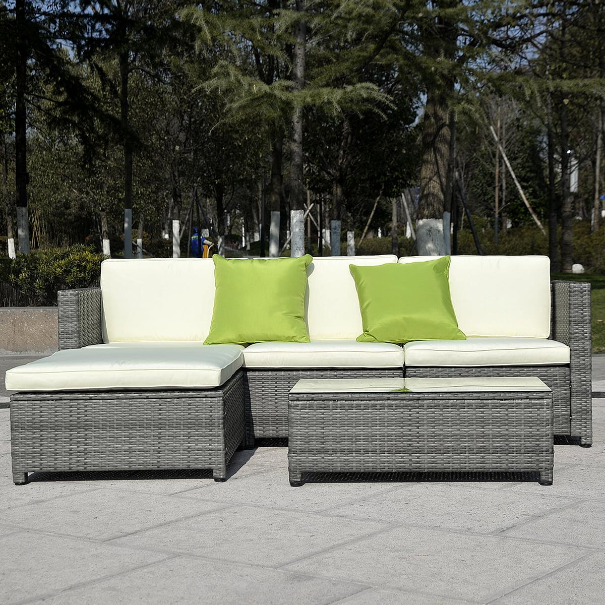 Costway 5pc Patio Rattan Wicker Sofa Set Cushioned Furniture Garden Steel Gradient Gray by Costway