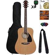 Fender FA-115 Dreadnought Acoustic Guitar - Natural Bundle with Fender Play Online Lessons, Gig Bag, Tuner, Strings, Strap, Picks, and Austin Bazaar Instructional DVD