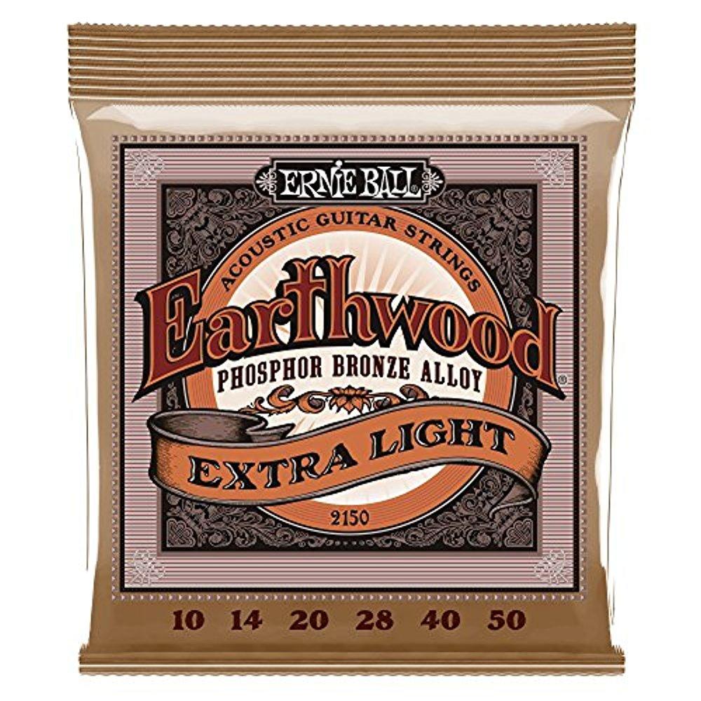 Ernie Ball 2150 Earthwood Acoustic Phosphor Bronze Guitar Strings, Extra Light, 10-50 by Ernie Ball