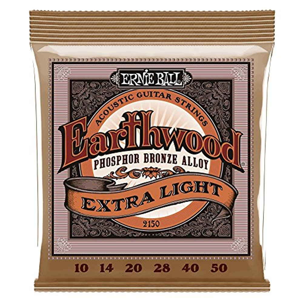 Ernie Ball 2150 Earthwood Acoustic Phosphor Bronze Guitar Strings, Extra Light, 10-50