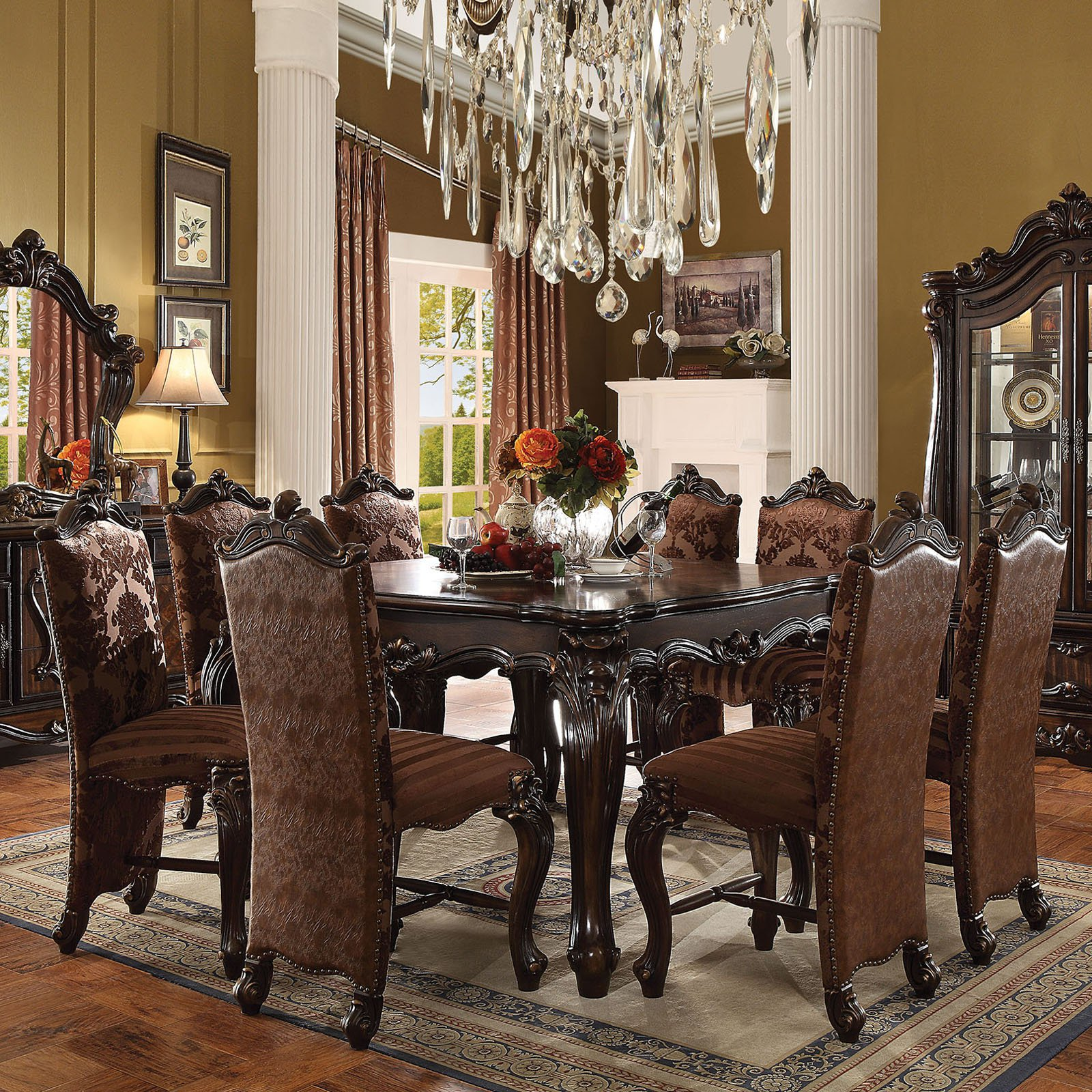 Acme Furniture Versailles 9 Piece Square Counter Height Dining Table Set & Acme Furniture Versailles 9 Piece Square Counter Height Dining Table ...