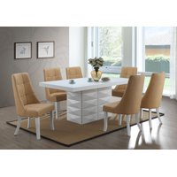 "Lexie 7-Piece Dining Set, White Wood & Blue Vinyl, Contemporary, 71"" Rectangular, (Pedestal Table & 6 Upholstered Parsons Chairs)"