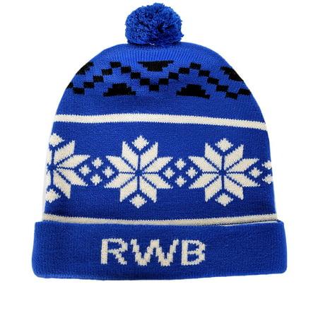Fair Isle Hat Patterns - RWB Abstract Fair Isle Pattern Ugly Christmas Beanie One Size Hat Navy