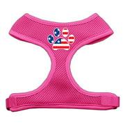 Mirage 70-42 LGPK Paw Flag USA Soft Mesh Dog Harness Pink Large