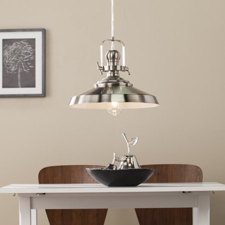 Southern Enterprises Mykelle Industrial Bell Pendant Lamp, Contemporary Style, Brushed Nickel
