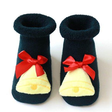Michellem Fashion Newborn Baby Boys Girls Christmas Floor Socks Anti-Slip Baby Step Socks For 1-3Y Best Gift For