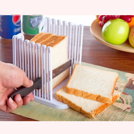 Bread Slicer Cutter Foldable and Adjustable Bread Toast Slicer Bagel Slicer Loaf Sandwich Bread Slicer Toast Slice Cutter Mold ()