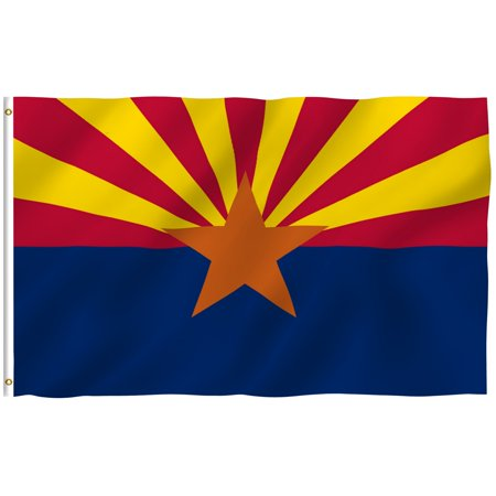 ANLEY [Fly Breeze] 3x5 Feet Arizona State Flag - Vivid Color and UV Fade Resistant - Canvas Header and Brass Grommets - Arizona AZ Banner Flags (Arizona Indoor Flag)