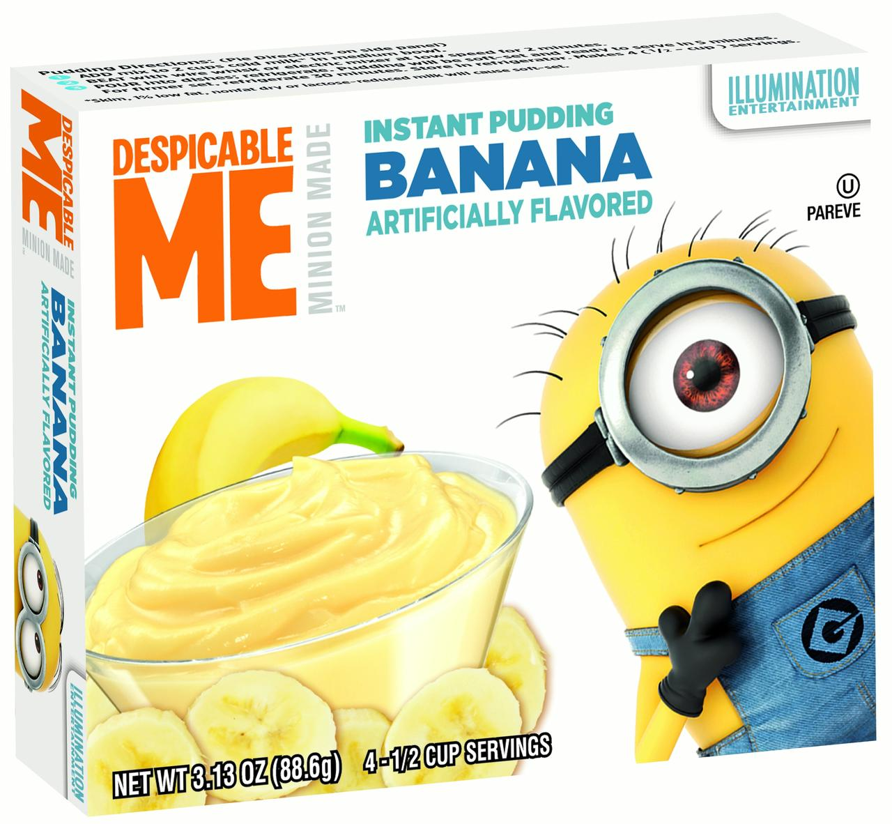 (3 Pack) MINIONS Pudding, Banana, 3.13 Oz, 12 Ct
