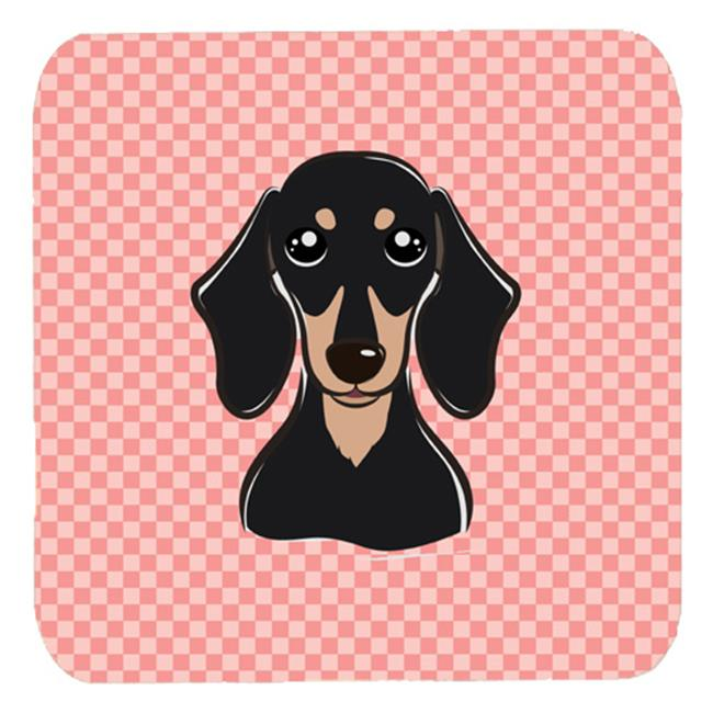 Carolines Treasures BB1215FC 3.5 x 3.5 In. Checkerboard Pink Smooth Black And Tan Dachshund Foam Coasters, Set Of 4 - image 1 of 1
