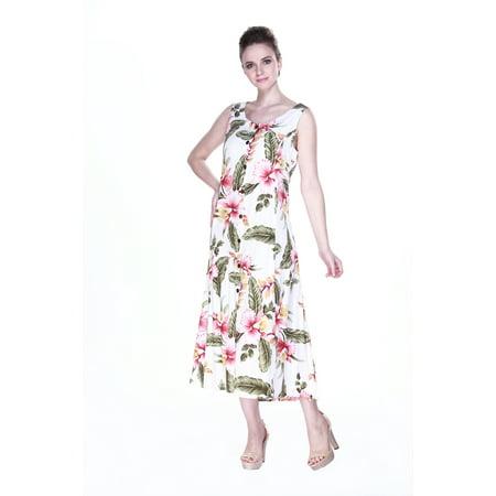 Maxi Dress Indigo Dress Hawaiian Dress Cruise Tropical Button Front in Cream