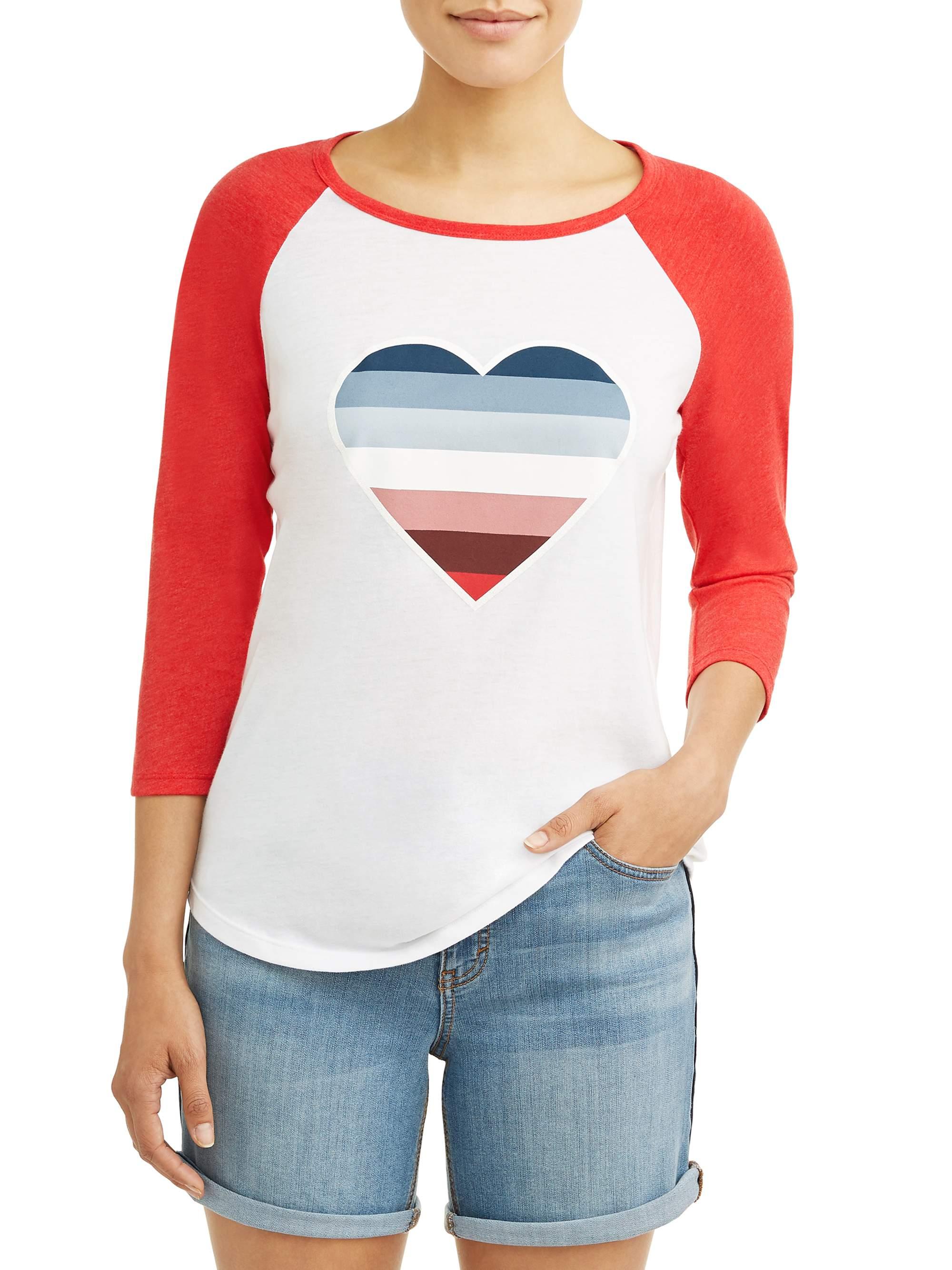 Ombre Heart 3/4 Sleeve Baseball Graphic Tee Women's