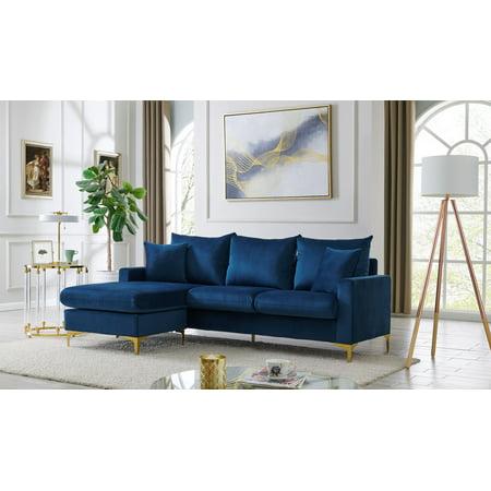 Chic Home Cromwell Velvet Upholstered Modular Sectional Sofa, Navy