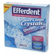 Efferdent Power Clean Crystals, Anti-Bacterial Denture Cleaner, Icy Mint 24 ea (Pack of 3)