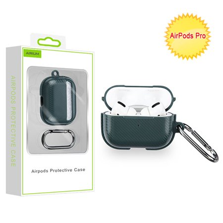 Airpods Pro Midnight Green Carbon Fiber Protective Case For Apple Airpods Pro With Wireless Charging Case Airpods Pro Protective Case Made Of Tpu. Carabiner Clip Included To Securely Attach Your Airpods Pro To Backpack And Other Outdoor Gear. Compatible With Airpods Pro With Wireless Charging Case. Does Not Interfere With Wireless Charging. Airpods Pro Not Included.