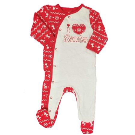 First Moments Baby Girl White Red I love Santa Sleeper Christmas Pajamas