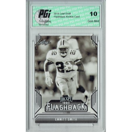 Emmitt Smith 2019 Leaf Draft #06 Flashback Rookie Card PGI 10