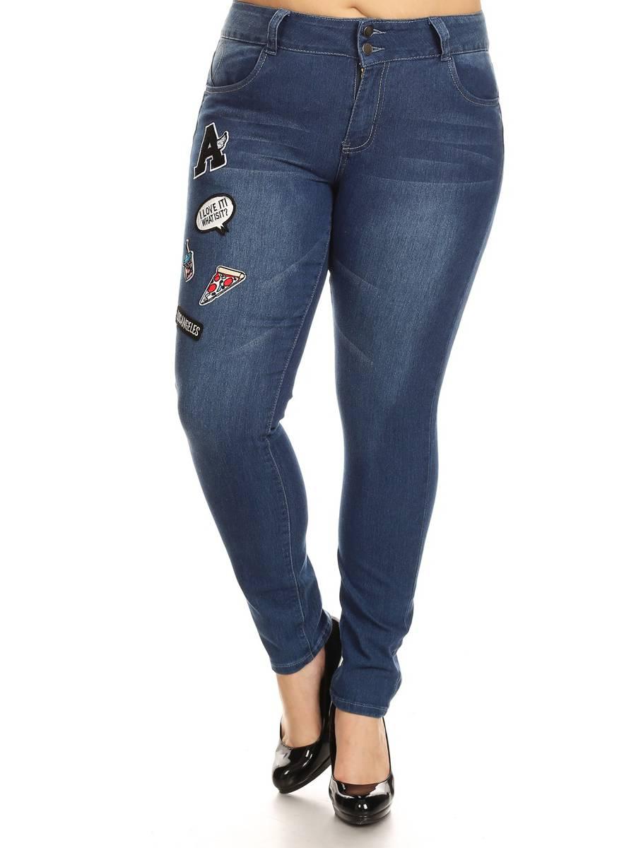 CG7-7G167P - Plus Size, Premium Badge Patch, Mid Waist Skinny Jeans