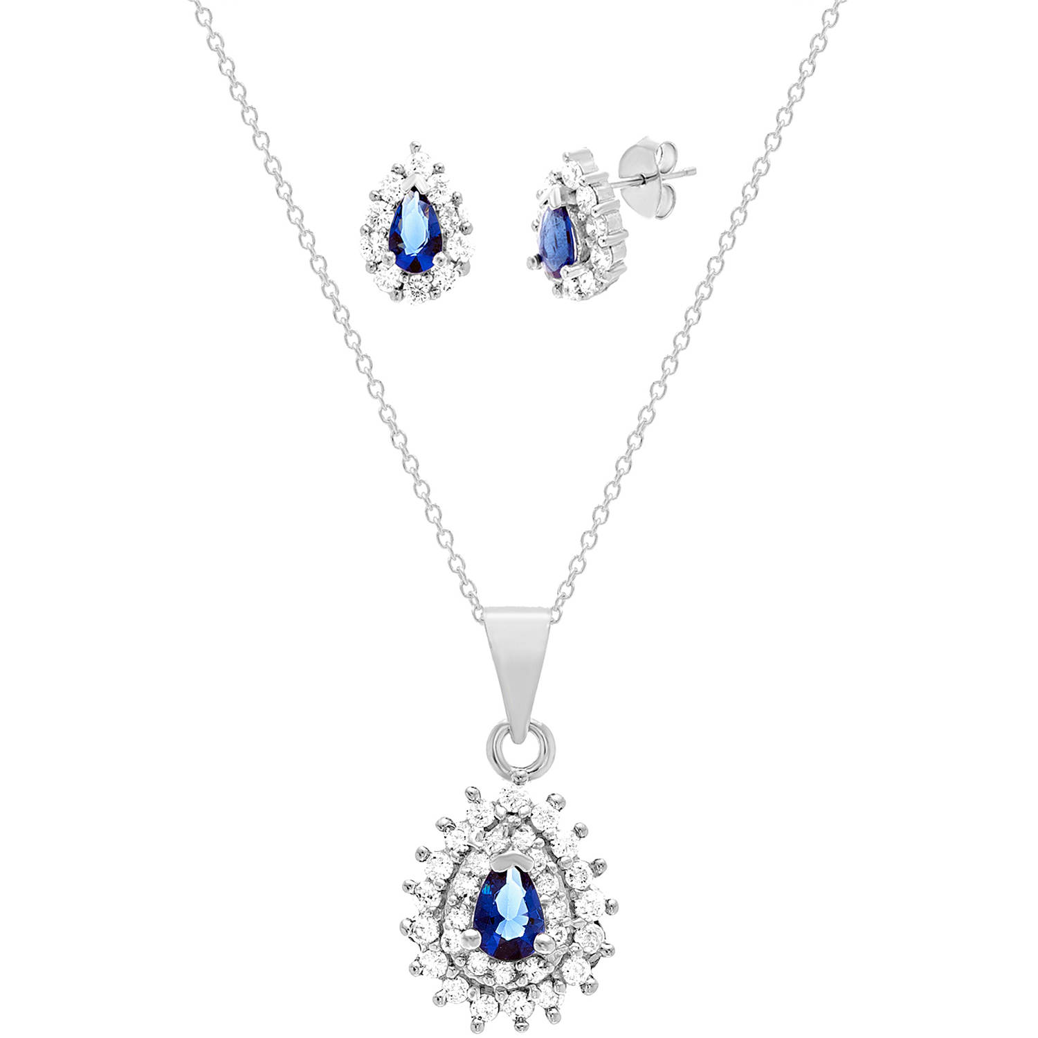 Lesa Michele Lab Created Sapphire Teardrop Jewelry Set In Sterling Silver