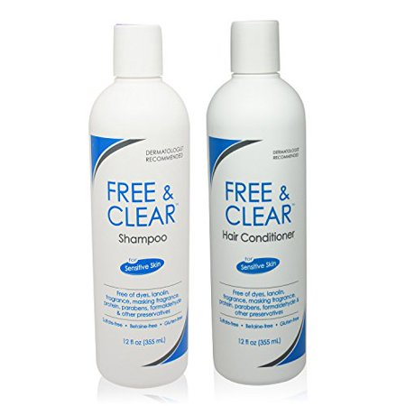 Free & Clear Shampoo and Conditioner Combo Set for Sensitive Skin - 12 oz Each