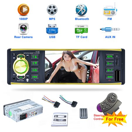 Excelvan 4019B 4.1 inch 1DIN BT MP5 Car Media Player FM AUX W/Remote USB/TF Support FM Function Support Rear View Camera