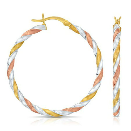 Sterling Open Swirl Earring (Sterling Silver Tri- Color Swirl Twisted Round Hoop Earrings, (1.4 Inch Diameter))