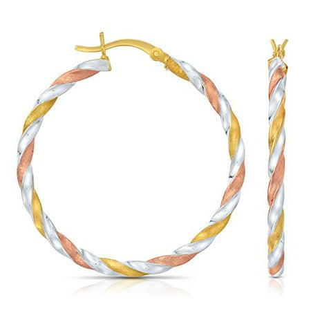 - Sterling Silver Tri- Color Swirl Twisted Round Hoop Earrings, (1.4 Inch Diameter)