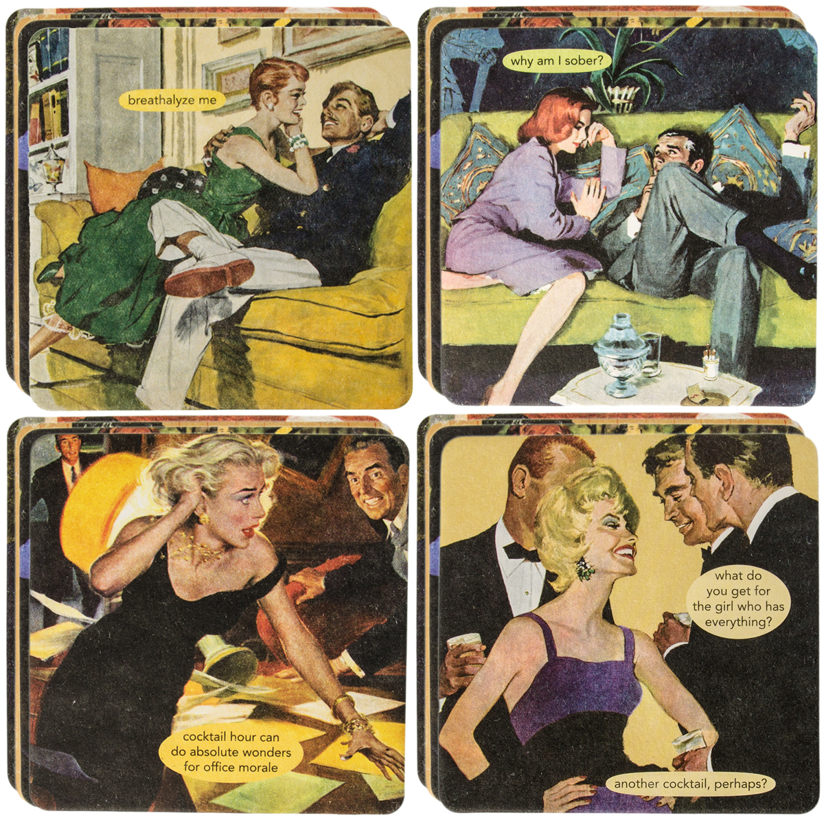 Anne Taintor18pc Drink Coasters Set For Glasses Funny Unique Quotes & Photos by