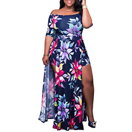3f8e66296e8 DYMADE - DYMADE Women s Floral Print Off-the-Shoulder High Split Beach Maxi  Dress Jumpsuit Romper - Walmart.com